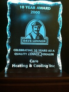 CARE Heating and Cooling Lennox Award - Celebrating a decade with Lennox