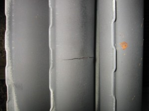 A cracked heat exchanger.
